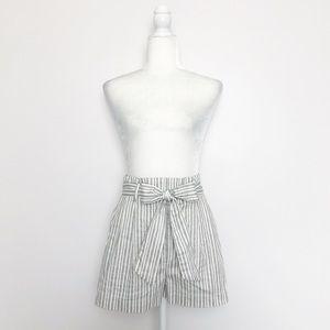John + Jenn Grey Striped Paperbag Waist Shorts S